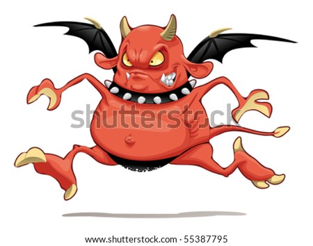 Funny demon. Cartoon and vector character. Isolated object - stock vector