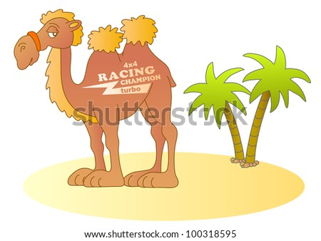 funny desert racer; vector illustration - stock vector