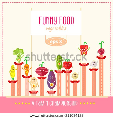 Funny diagram with cute cartoon characters showing vitamin competition between vegetables. Vector illustration - stock vector