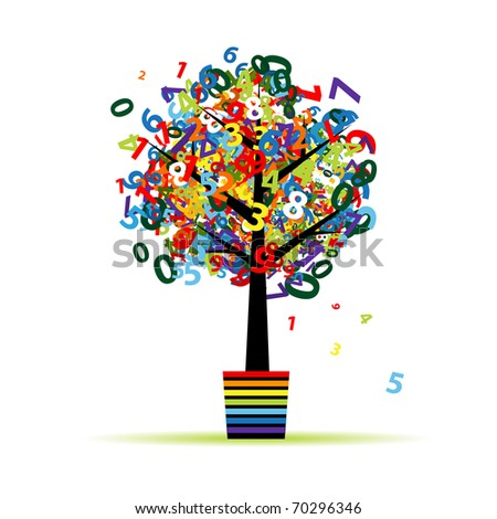 Funny digital tree in pot for your design - stock vector