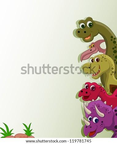 funny dinosaur cartoon set - stock vector