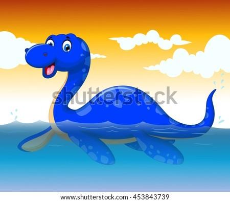 funny dinosaur cartoon swimming with sea life background - stock vector