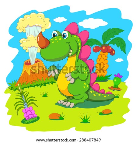 Funny dinosaur in a prehistoric landscape. Cartoon and vector isolated character on background.