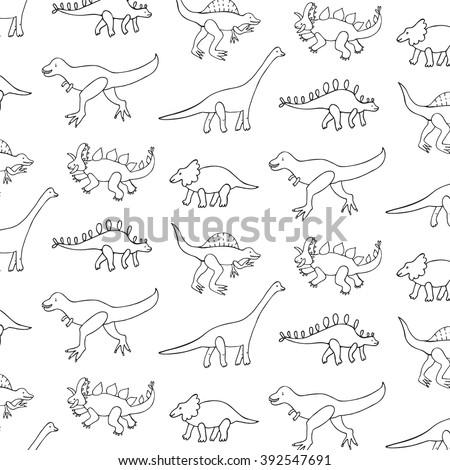 funny dinosaur outline pattern