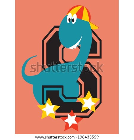 funny dinosaur wearing a very childish cap because he is so cute and smart - stock vector