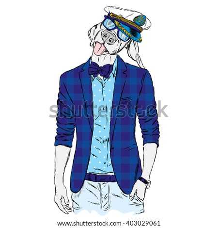 Funny dog - a hipster in a jacket and sunglasses. Vector illustration. Print on clothes, postcard or poster.