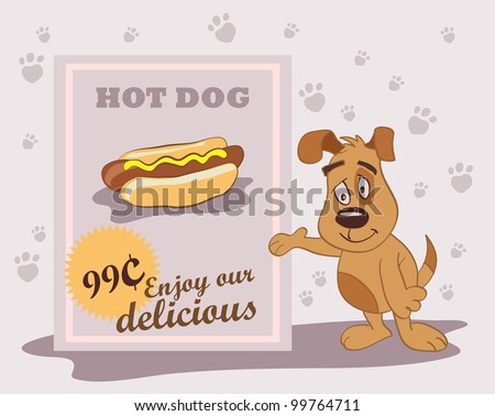 funny dog, a menu with hot dog - stock vector