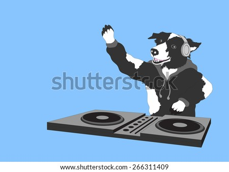 funny dog dj hipster for fun party - stock vector