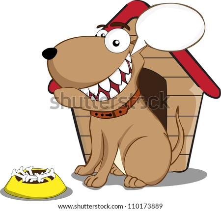 funny dog in front of the cage with food and an empty balloon sign on a white background - stock vector