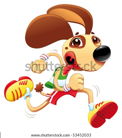 Funny dog is running. Vector and cartoon character. Object isolated - stock vector