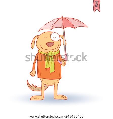 funny dog pet in the rain, vector illustration. - stock vector