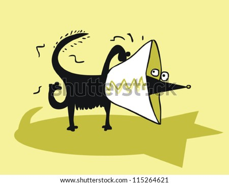 Funny dog with plastic cone - stock vector