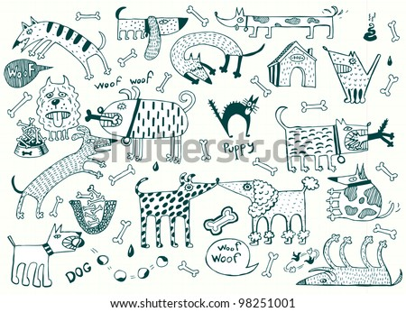 Funny Dogs Set, Pen on Paper (Vector) - stock vector