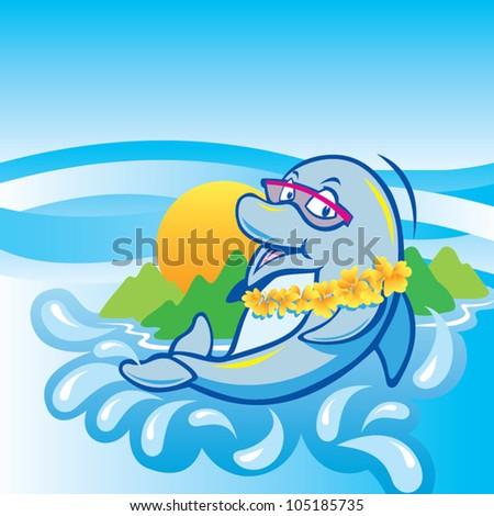 funny dolphin - stock vector