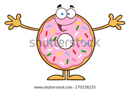 Funny Donut Cartoon Character With Sprinkles Wanting A Hug. Vector Illustration Isolated On White - stock vector