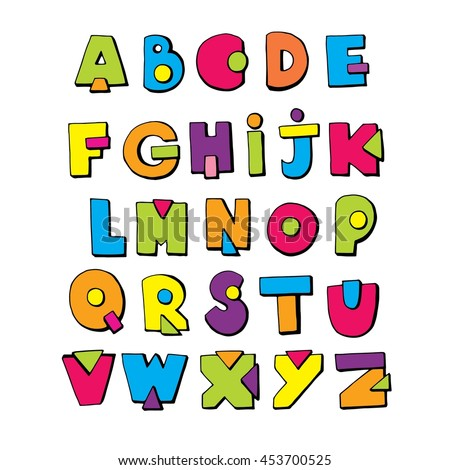 Funny doodle alphabet. Colorful creative design ABC kids hand drawn cartoon letters.