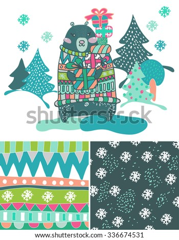 Funny doodle bear and patterns for holiday design, Christmas card, vector - stock vector