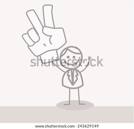Funny Doodle : Business Man Peace Hand - stock vector