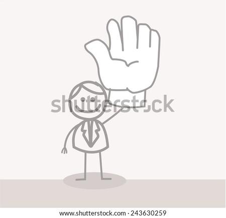 Funny Doodle : Business Man Volunteer Hand - stock vector