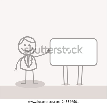 Funny Doodle : Businessman Showing Banner - stock vector