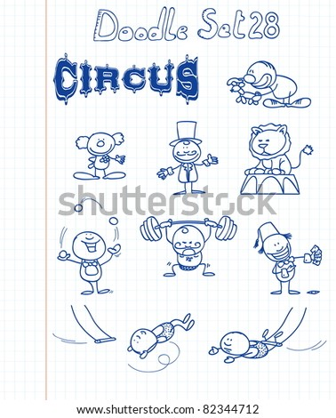 Funny doodle set with a circus theme - stock vector
