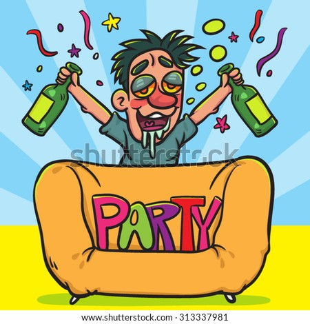 Funny Drunk Man Bottle Party Illustration Stock Vector Royalty Free