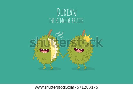 Funny durian fruits. Durian the king of fruits. Vector illustration.