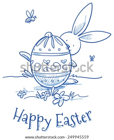 Funny Easter Bunny hiding behind easter egg, flower egg decoration, pattern. Hand drawn vector illustration. - stock vector