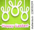 Funny easter card with cut big-eared eggs like rabbit and greetings. Vector illustration for your holiday design. Cut out white paper eggs suspended on top. Green, white and pink color. - stock photo