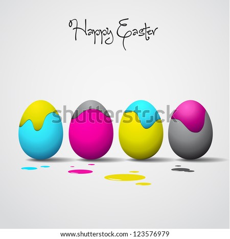 Funny Easter eggs - Cyan, magenta, yellow, black color - CMYK color theme - stock vector