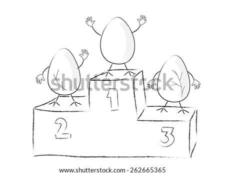 Funny Easter eggs on victory podium - stock vector