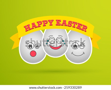 Funny Easter eggs. Vector illustration. - stock vector