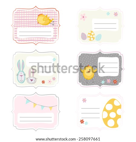 Funny Easter lables in pastel color