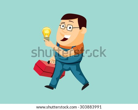 Funny electrician goes to replace the bulb. Handy mechanic. Service center. Simple vector illustration. - stock vector