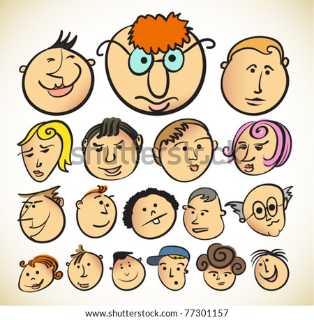 funny face cartoon people stock vector royalty free 77301157