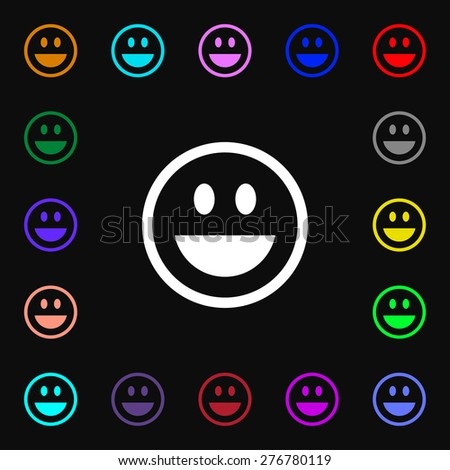 funny Face  icon sign. Lots of colorful symbols for your design. Vector illustration - stock vector