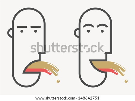 Funny face - much to drink - stock vector