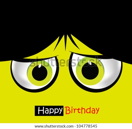 Funny faces with eyes on the card - stock vector