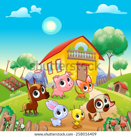 Funny farm animals in the garden. Cartoon vector illustration - stock vector
