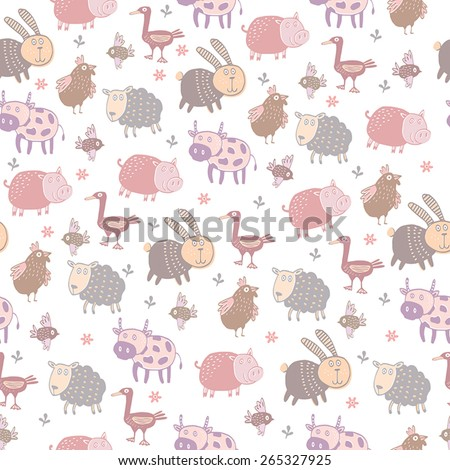 Funny farm animals in vector background.Vector seamless pattern - stock vector