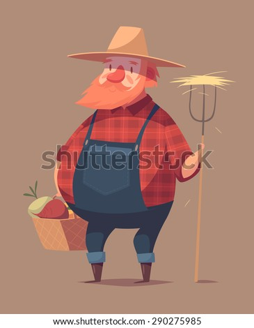 Funny farmer character. Isolated vector illustration. - stock vector