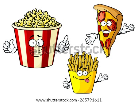 Funny fastfood cartoon characters depicting smiling pizza slice, french fries in yellow paper box and popcorn in red striped bucket for food design - stock vector