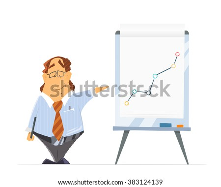 Funny fat man boss company head chief leader and office flip-chart flip chart or paper board whiteboard. Isolated on white background. - stock vector