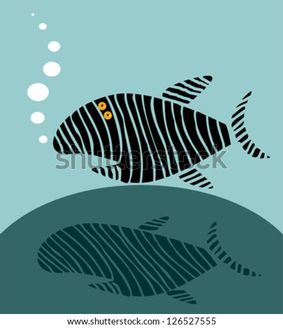 Funny fish - stock vector