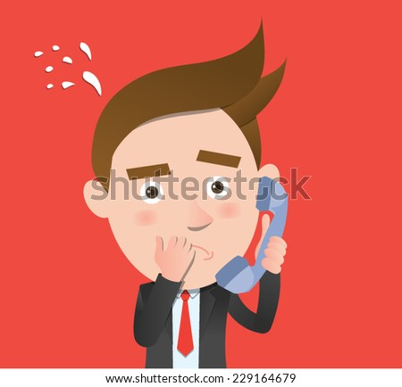 Funny flat character call dilemma concept - stock vector