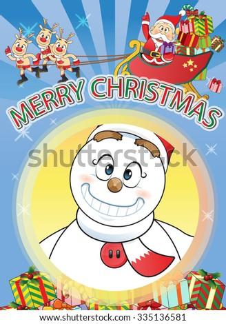 funny flat character merry Christmas Santa, Snowman, Reindeer Cartoon - stock vector