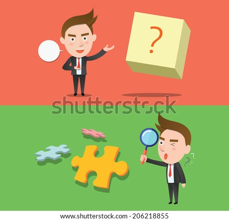 Funny flat character question business concept - stock vector
