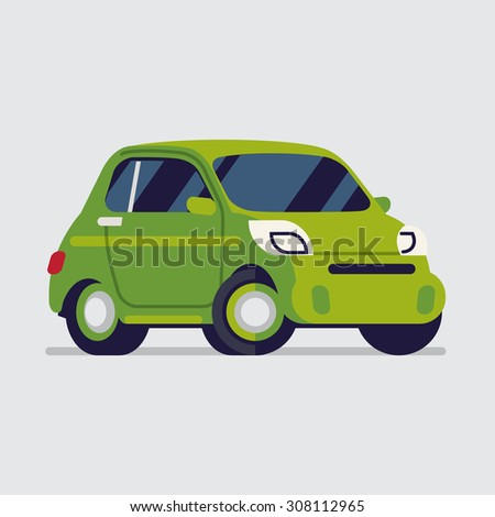 Funny flat design web icon on little green subcompact city microcar | Transportation themed illustration on small vehicle, isolated