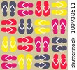 Funny flip flops pattern. Vector illustration - stock vector