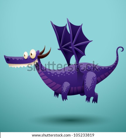 Funny flying dragon 3, vector - stock vector